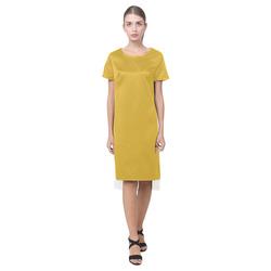 Lemon Curry Short Sleeves Casual Dress(Model D14)