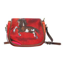Wild horse on red background Saddle Bag/Small (Model 1649) Full Customization