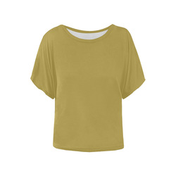 Golden Olive Women's Batwing-Sleeved Blouse T shirt (Model T44)