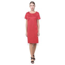 Flame Scarlet Short Sleeves Casual Dress(Model D14)