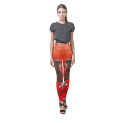 Wild horse on red background Cassandra Women's Leggings (Model L01)