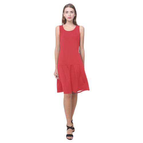 Flame Scarlet Sleeveless Splicing Shift Dress(Model D17)