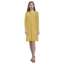 Spicy Mustard Rhea Loose Round Neck Dress(Model D22)
