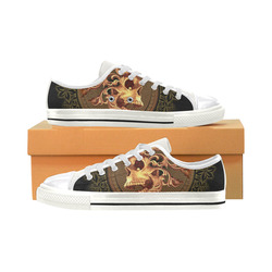 Amazing skull with floral elements Women's Classic Canvas Shoes (Model 018)