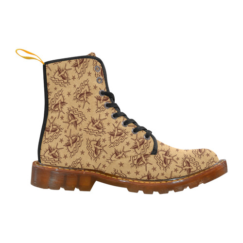 Sparrow Tattoos and Nautical Stars Martin Boots For Men Model 1203H