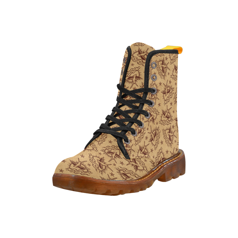 Sparrow Tattoos and Nautical Stars Martin Boots For Women Model 1203H
