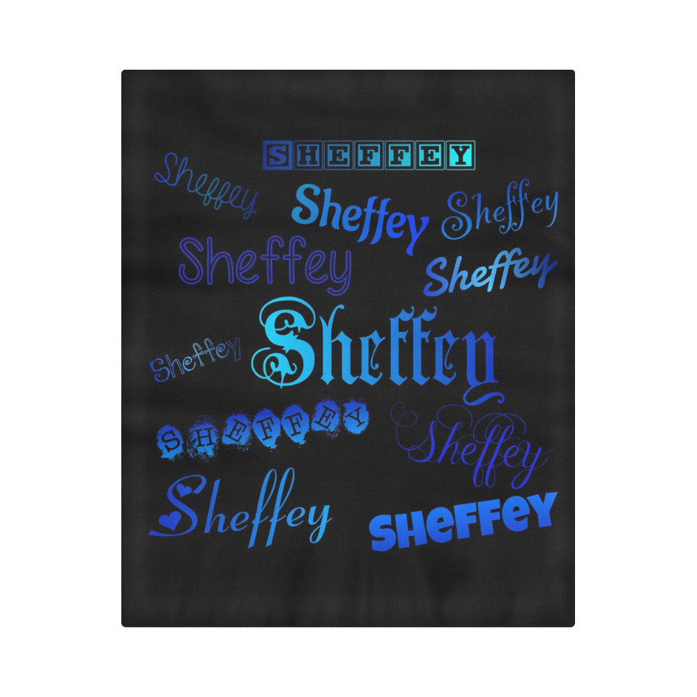 "Sheffey Fonts - Shades of Blue on Black 040 Duvet Cover 86""x70"" ( All-over-print)"