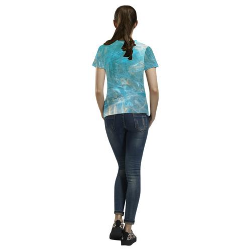 Frozen Ice Blue Fractal All Over Print T-Shirt for Women (USA Size) (Model T40)