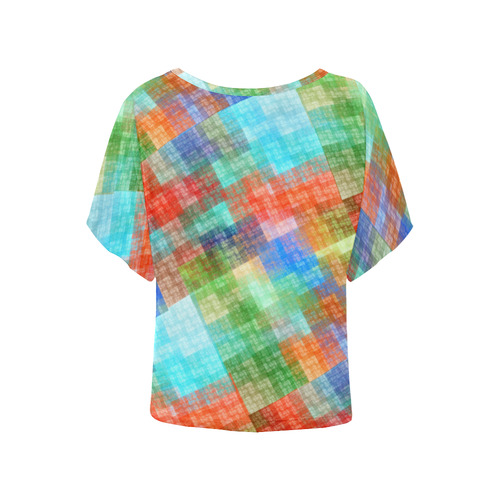 Funny Colorful Check Women's Batwing-Sleeved Blouse T shirt (Model T44)