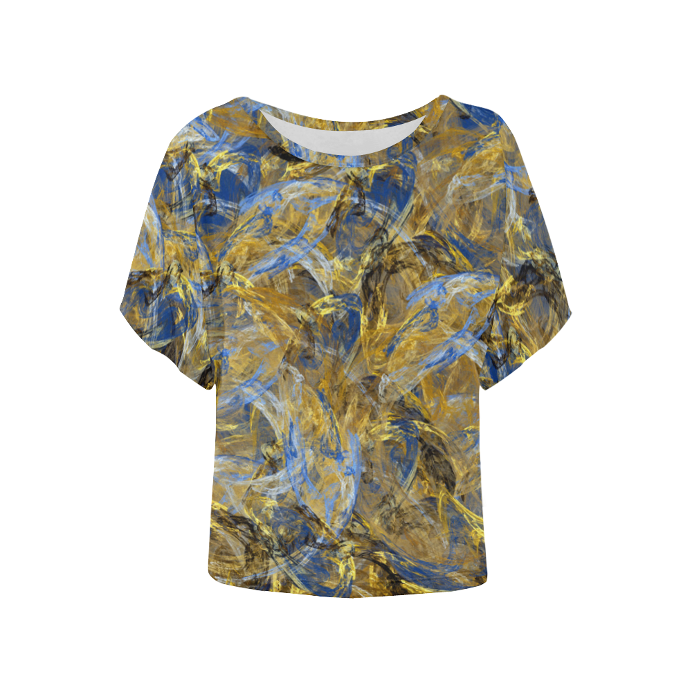 Antique Anciently Gold Blue Vintage Design Women's Batwing-Sleeved Blouse T shirt (Model T44)