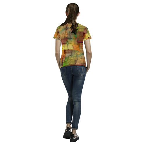 Indian Summer Funny Check All Over Print T-Shirt for Women (USA Size) (Model T40)