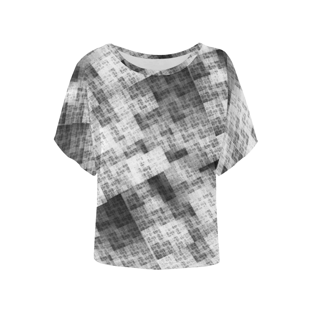 Funny Crazy Black and White Check Women's Batwing-Sleeved Blouse T shirt (Model T44)