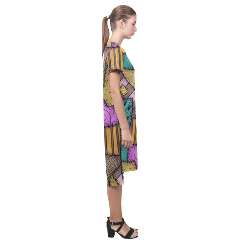 Patchwork Scraps Short Sleeves Casual Dress(Model D14)