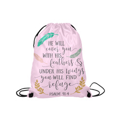 """He Will Cover You With His Feathers Medium Drawstring Bag Model 1604 (Twin Sides) 13.8""""(W) * 18.1""""(H)"""