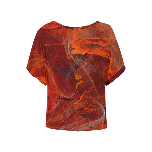 Swirly Love in Deep Red Women's Batwing-Sleeved Blouse T shirt (Model T44)