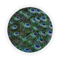 "Peacock Feathers Circular Beach Shawl 59""x 59"""