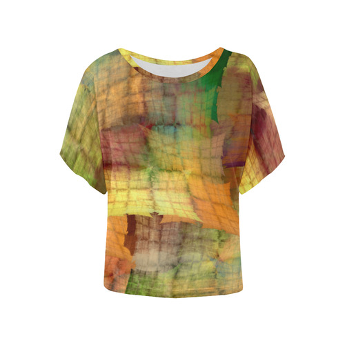 Indian Summer Funny Check Women's Batwing-Sleeved Blouse T shirt (Model T44)