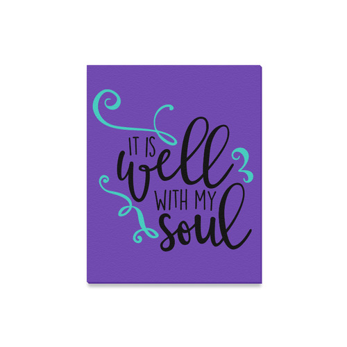 """It_is_Well_with_my_Soul_teal black purple Canvas Print 16""""x20"""""""