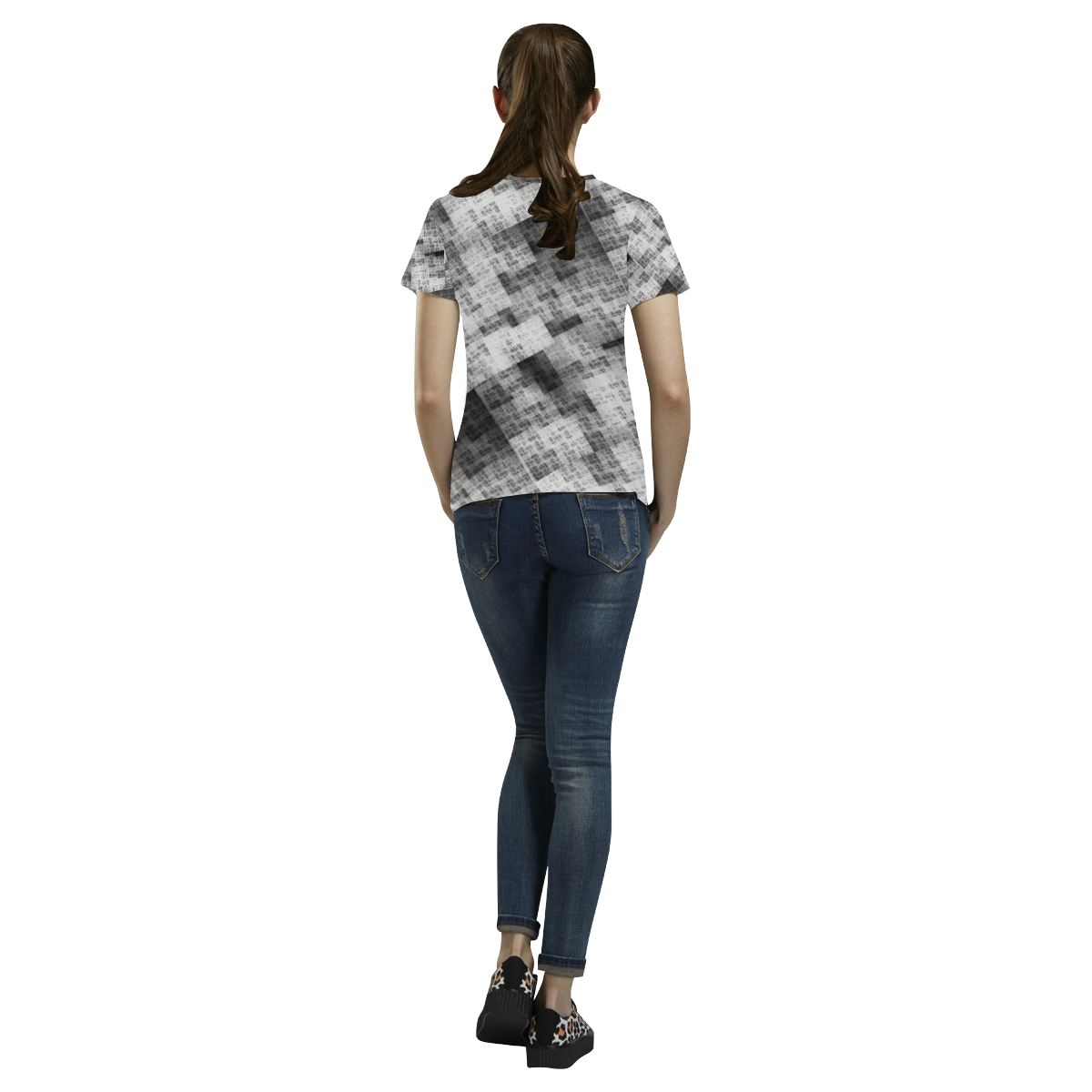 Funny Crazy Black and White Check All Over Print T-Shirt for Women (USA Size) (Model T40)