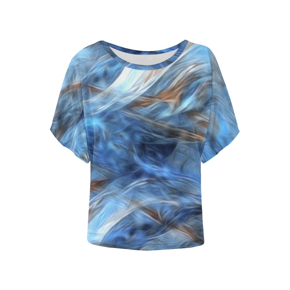 Blue Colorful Abstract Design Women's Batwing-Sleeved Blouse T shirt (Model T44)