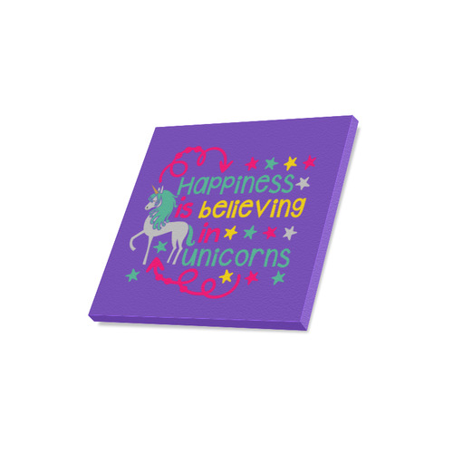 """Happiness_is_believing_in_Unicorns_pink yellow teal purple Canvas Print 16""""x16"""""""