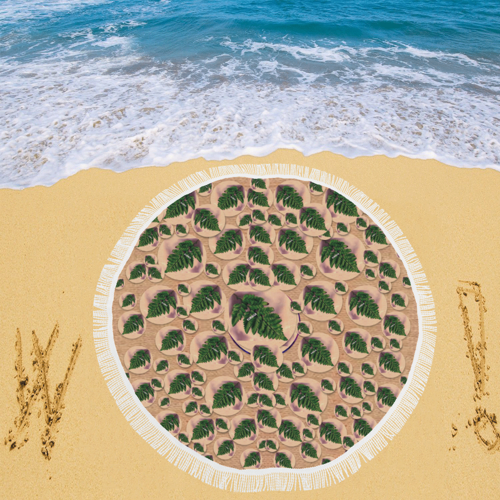 "Made In Taiwan pop art Circular Beach Shawl 59""x 59"""