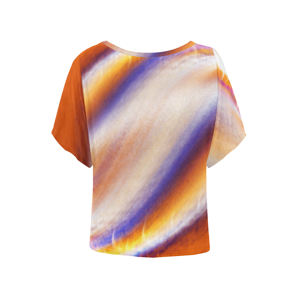 THE BIG WAVE Colorful Painting Women's Batwing-Sleeved Blouse T shirt (Model T44)