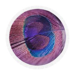 "Purple Peacock Feather Circular Beach Shawl 59""x 59"""