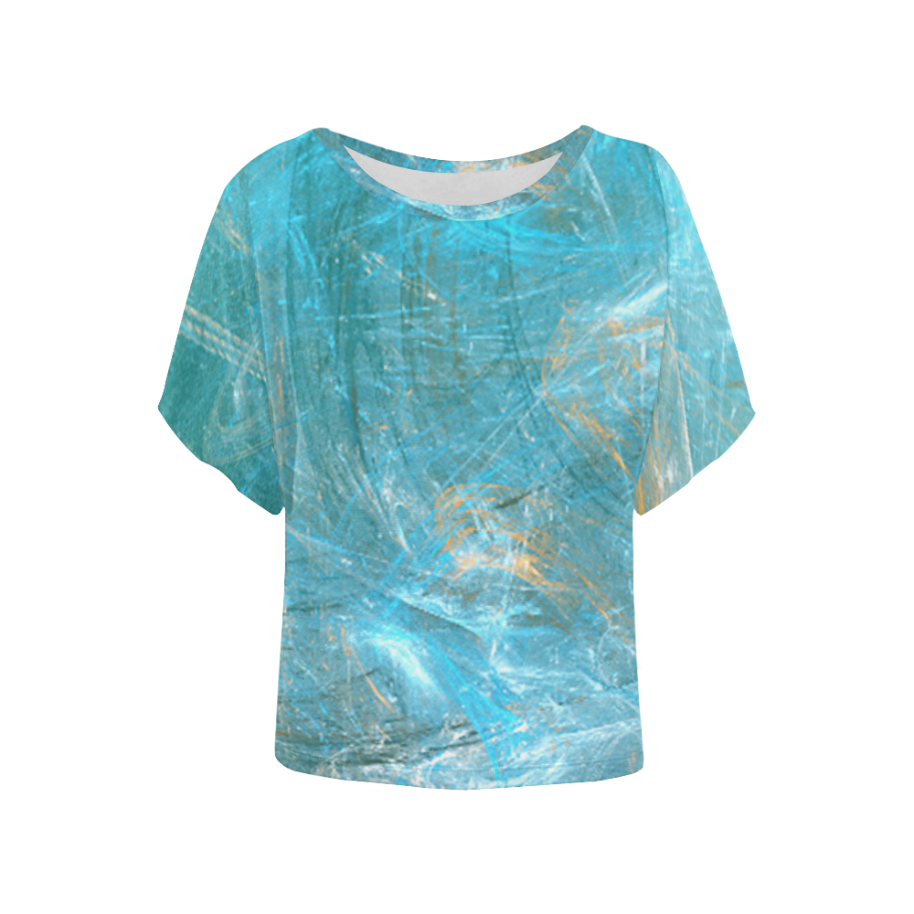 Frozen Ice Blue Fractal Women's Batwing-Sleeved Blouse T shirt (Model T44)