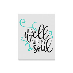 """It_is_Well_with_my_Soul_teal black Canvas Print 16""""x20"""""""