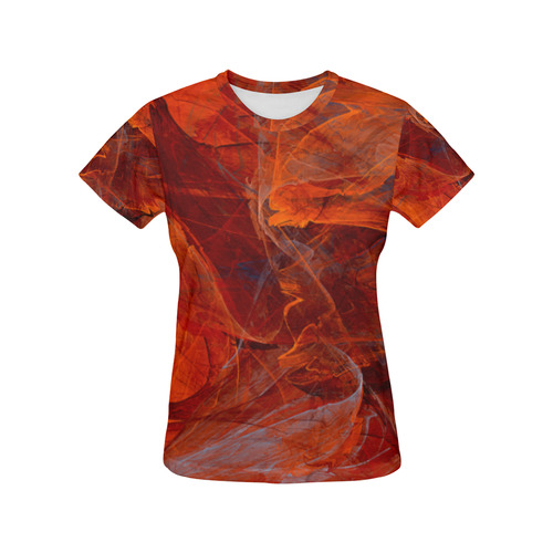 Swirly Love in Deep Red All Over Print T-Shirt for Women (USA Size) (Model T40)