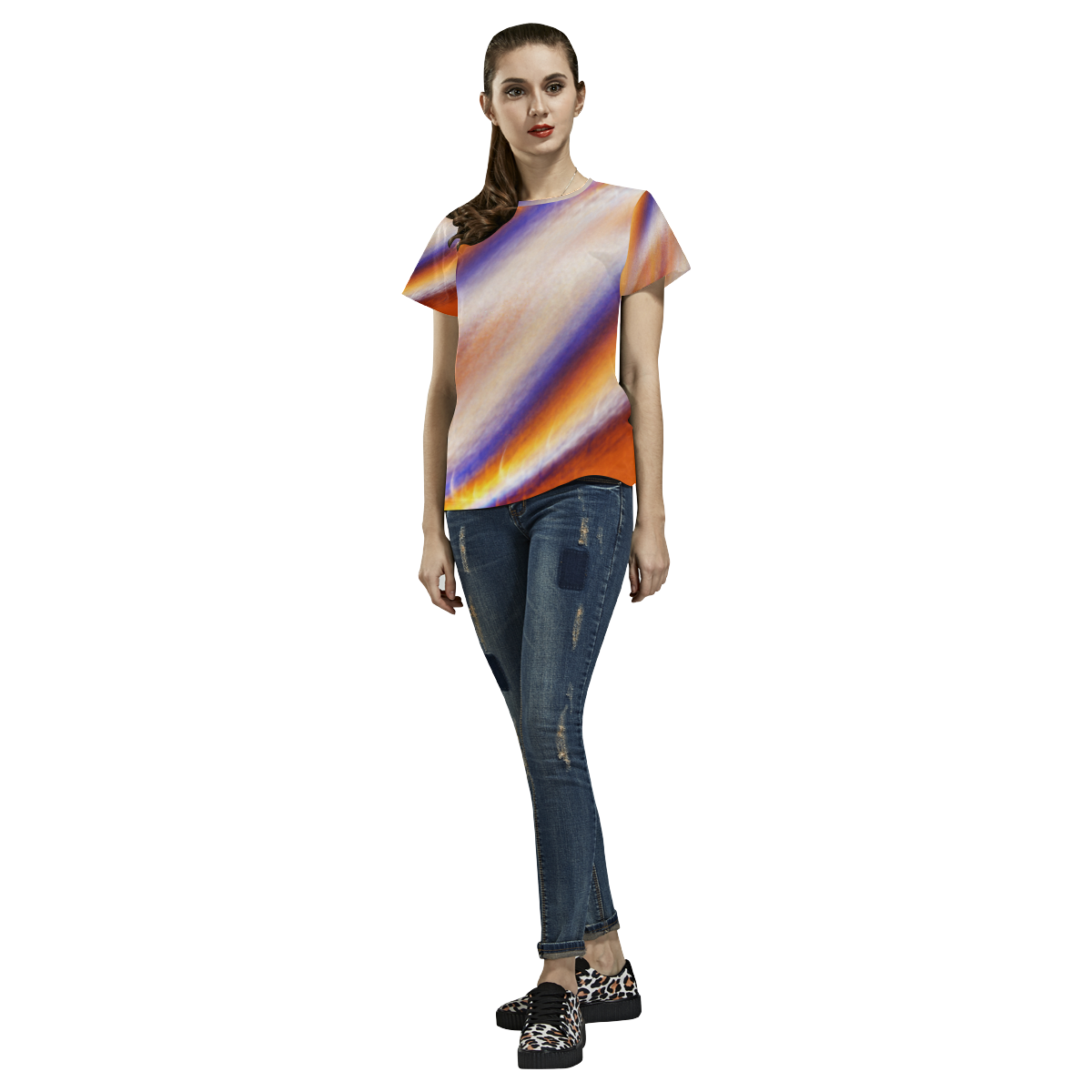 THE BIG WAVE Colorful Painting All Over Print T-Shirt for Women (USA Size) (Model T40)