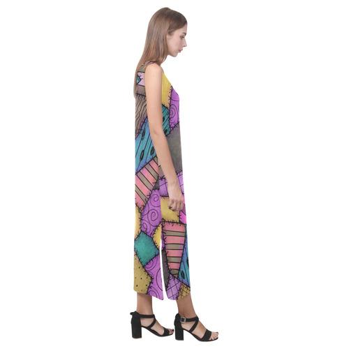 Patchwork Scraps Phaedra Sleeveless Open Fork Long Dress (Model D08)