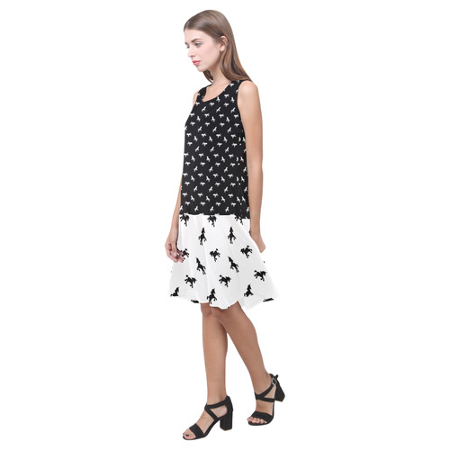 Teeny Unicorns Sleeveless Splicing Shift Dress(Model D17)