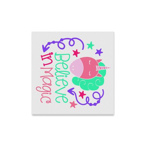 "Believe_in_Magic_UNICORN pink purple teal-white Canvas Print 16""x16"""