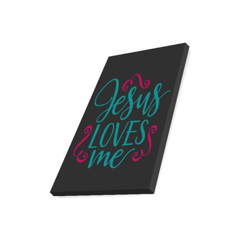 "Jesus Loves Me (Black) Canvas Print 16""x20"""