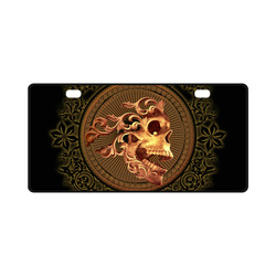 Amazing skull with floral elements License Plate