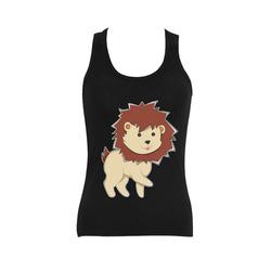 Happy Cartoon Baby Lion Women's Shoulder-Free Tank Top (Model T35)
