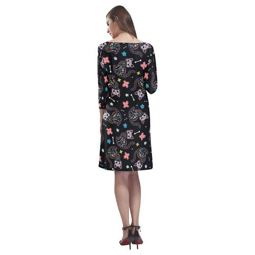 Dia de los Gatos Rhea Loose Round Neck Dress(Model D22)