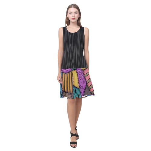 Patchwork Scraps and Gothic Stripes Sleeveless Splicing Shift Dress(Model D17)