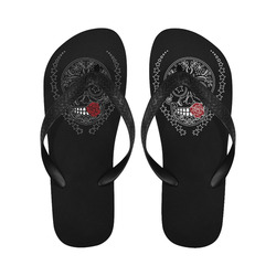 Sugar Skull Red Rose Black Flip Flops for Men/Women (Model 040)