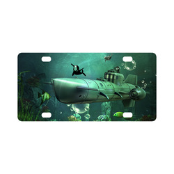Awesome submarine with orca Classic License Plate