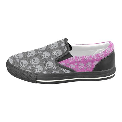 SKULLS BLACK AND PINK Slip-on Canvas Shoes for Kid (Model 019)