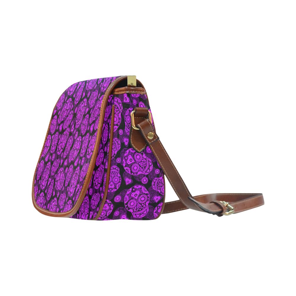 Sugar Skull Pattern - Purple Saddle Bag/Small (Model 1649) Full Customization