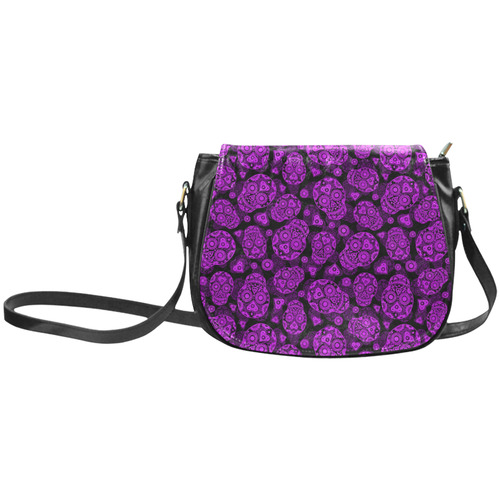 Sugar Skull Pattern - Purple Classic Saddle Bag/Small (Model 1648)