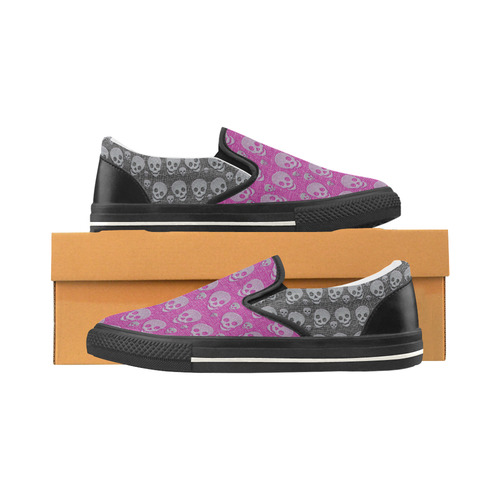 SKULLS PINK AND BLACK Slip-on Canvas Shoes for Kid (Model 019)