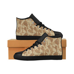 Desert Camouflage Military Pattern Aquila High Top Microfiber Leather Men's Shoes/Large Size (Model 032)