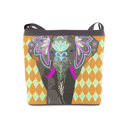 Painted Indian Elephant Geometric Background Crossbody Bags (Model 1613)