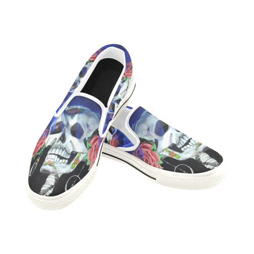Sugar Skull and Roses Slip-on Canvas Shoes for Kid (Model 019)