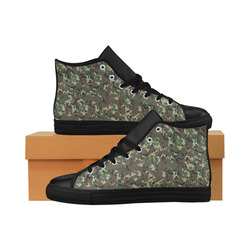 Forest Camouflage Military Pattern Aquila High Top Microfiber Leather Men's Shoes/Large Size (Model 032)